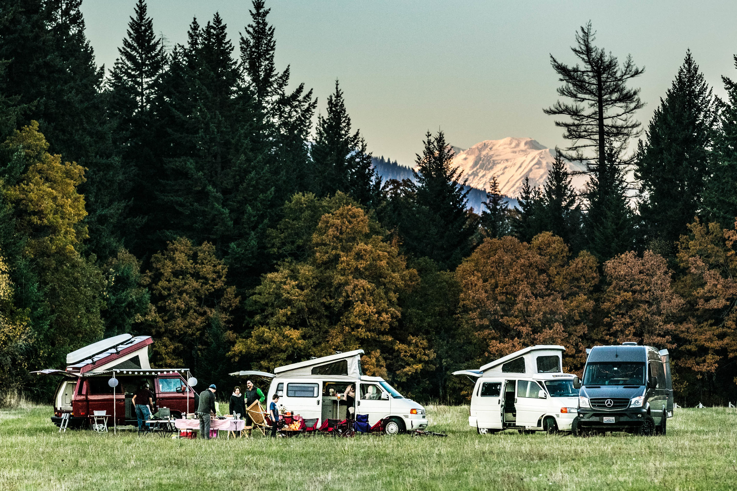 4 camper vans in a field in Washington near Mt Adams.jpg