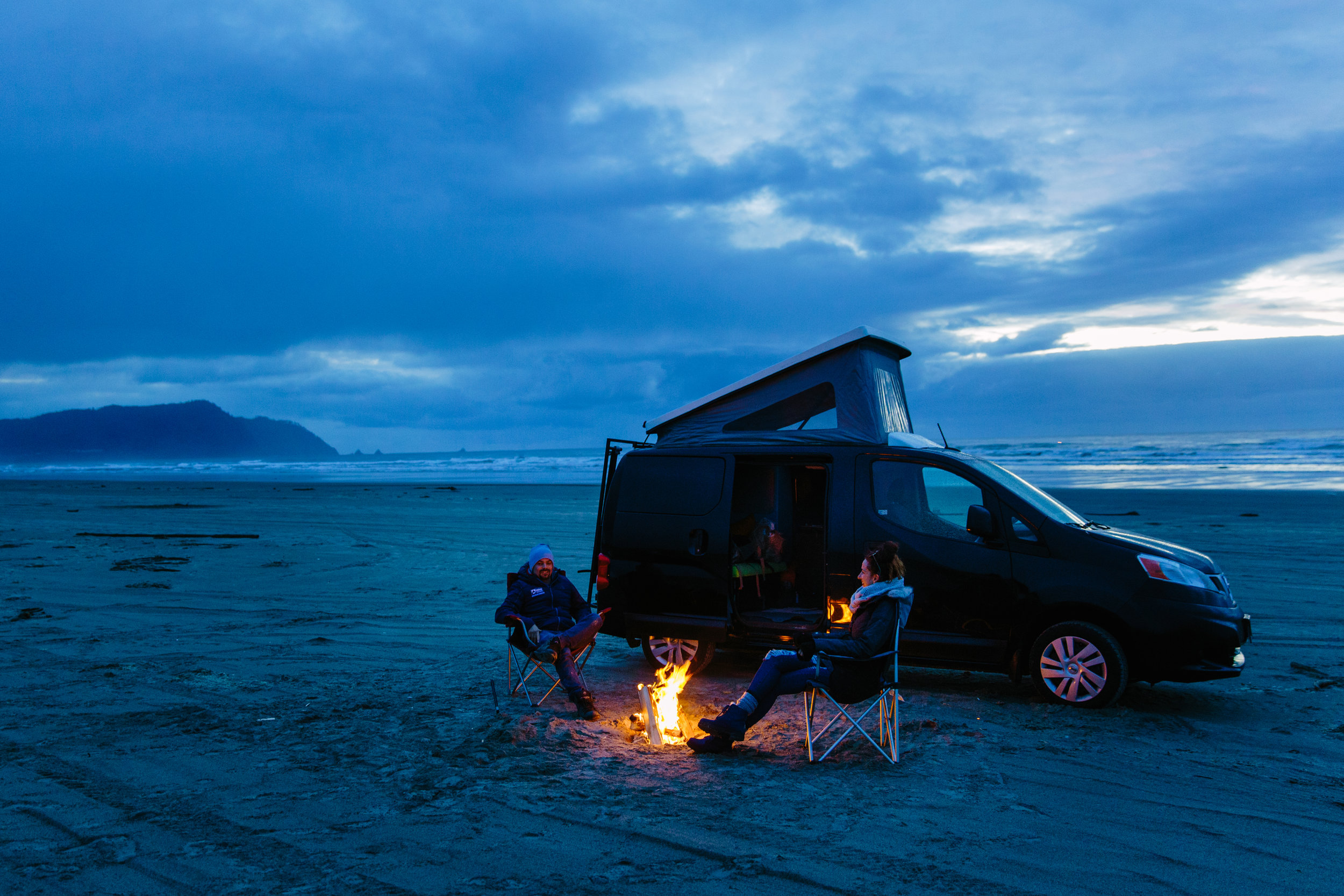 Whether you drive your GoCamp van onto the beach, or just walk over from your campsite, consider an ocean side fire, one of life's great pleasures.