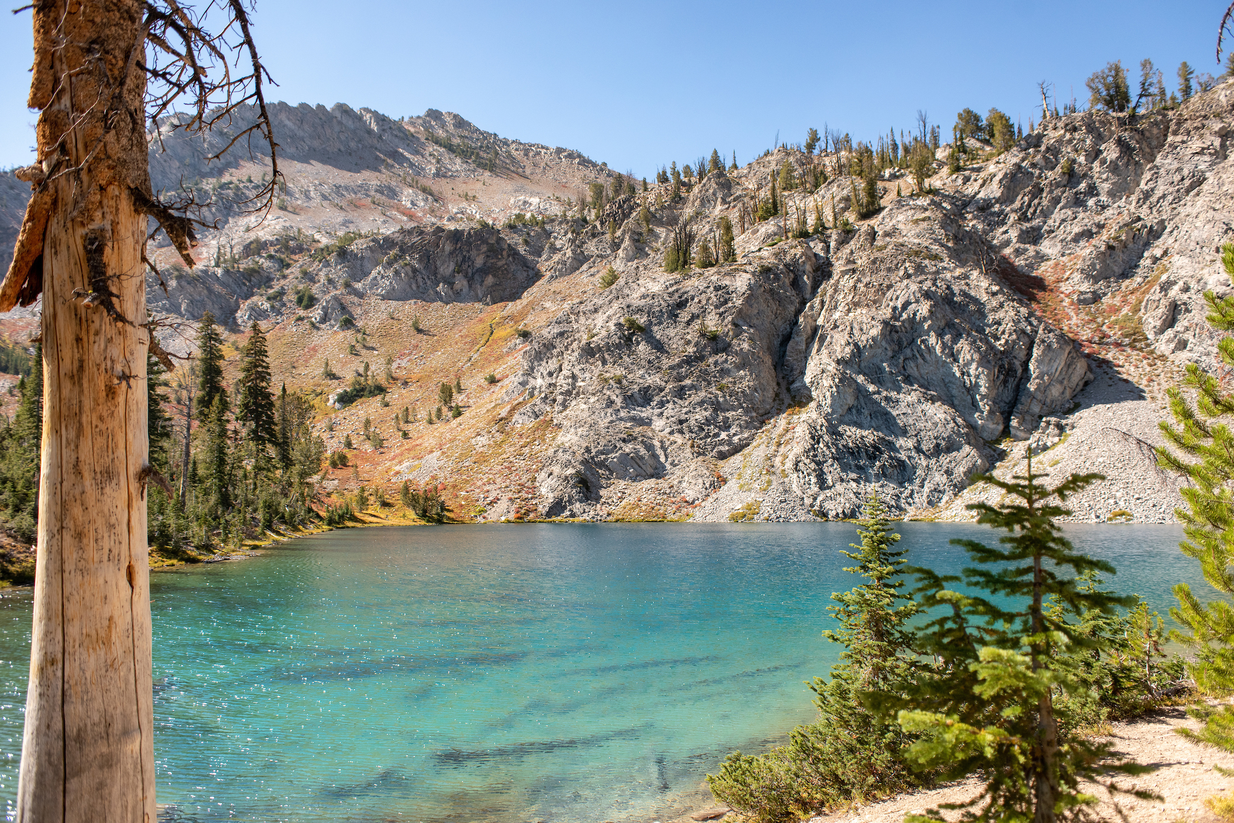 The alpine lake at the end of Cabin Creek Trail.