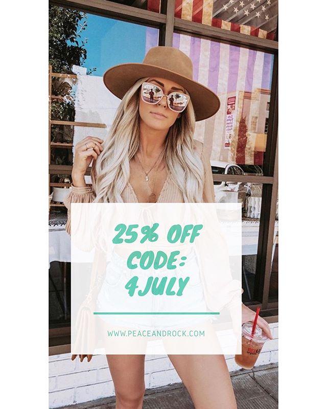 Yass! 25% OFF Por este fin de semana largo!! Compra lo que quieras y ten 25% OFF en tu compra con el código #4JULY en #peaceandrock.com