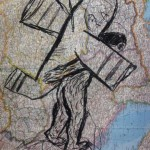 Man with Plane, charcoal on atlas page, 35 x 27 cm, $550