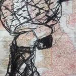 Burden, charcoal on atlas page, 35 x 27 cm, $550