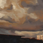 'Building Cloud', oil on canvas, 30 x 60cm, $1,500