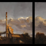'Industrial' (Diptich), oil on canvas, 30 x 60cm, $1,500