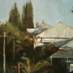 'Rooftops', 2013, oil on canvas, 30 x 40cm, $1,000
