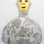 Lost and Found #6, 2013, cast aluminium, engraving, gold leaf, 53 x 50 cm