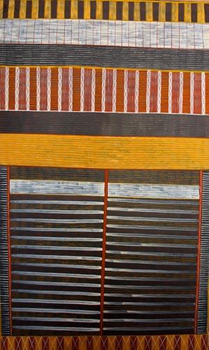 Pedro Wonaeamirri (born 1974), Pwoja-Pukumani Body Paint Design, 2006, natural earth pigments on canvas, 200 x 120 cm, $12,000