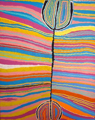 Judy Watson Napangardi (born circa 1925), Mina Mina Jukurrpa (Women's Dreaming), 2004, synthetic polymer paint on canvas, 152 x 122 cm, $12,000