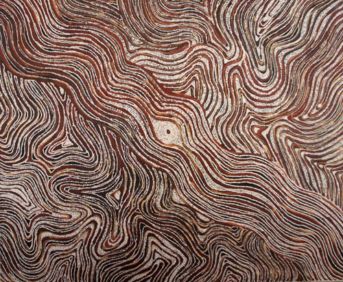 Lloyd Kwilla (born 1980), Bushfire series 4 – Kulyayi Waterhole, 2006, natural earth pigments on canvas, 150 x 180 cm, $12,000