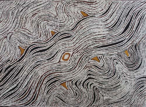 Lloyd Kwilla (born 1980), Kanaji Kujarra – Two Snakes, 2006, natural earth pigments on canvas, 100 x 140 cm, $7,000
