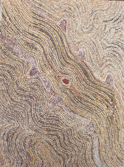 Lloyd Kwilla (born 1980), Kulyayi Waterhole – Two Snakes, 2007, natural earth pigments on canvas, 90 x 120 cm, $5,000