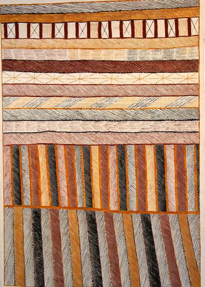 Pedro Wonaeamirri (born 1974), Pwoja, Body Paint Design, 2001, natural earth pigments on canvas, 78 x 103 cm, $5,000
