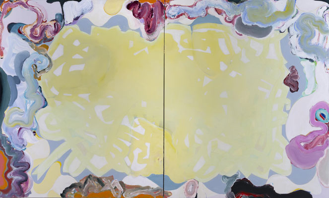 Daniel Mafe, Grandiflora I, acrylic on canvas, 180 x 300 cm