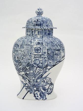 Shin Koyama, In the City, hand painted ceramic, 75 x 45 cm