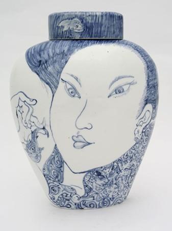 Shin Koyama, Beauty, hand painted ceramic, 75 x 45 cm