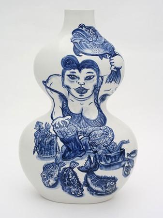 Shin Koyama, Fish Monger, hand painted ceramic, 35 x 25 cm
