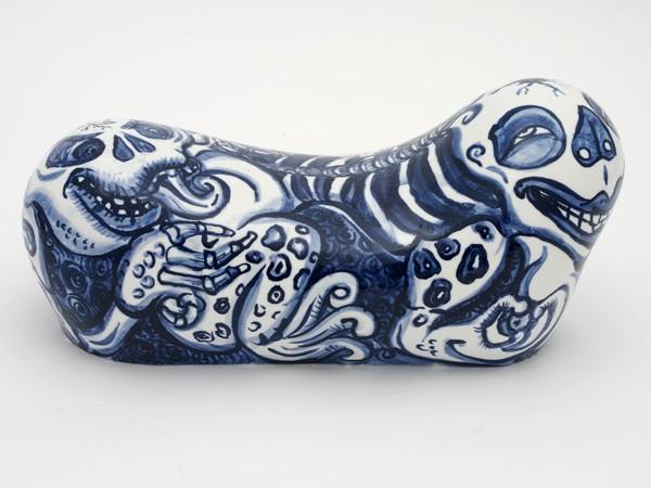 Shin Koyama, Pillow #1, hand painted ceramic, 35 x 17 x 15 cm