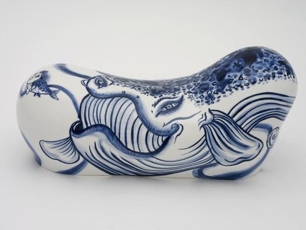 Shin Koyama, Pillow #6, hand painted ceramic, 35 x 17 x 15 cm