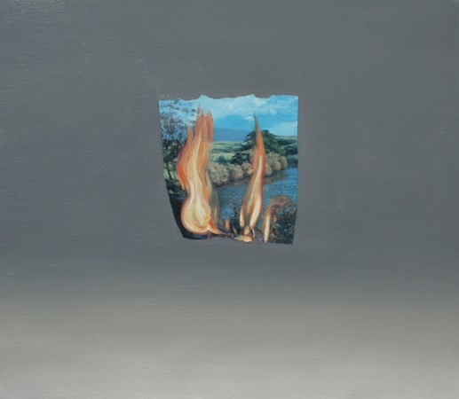 Chonggang Du, Burning Landscape (2012), oil on canvas, 81.5 x 71 cm