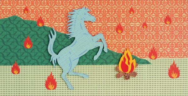 Samuel Tupou, Fire Horse (2012), silkscreen on high density PVC, 80 x 120 cm