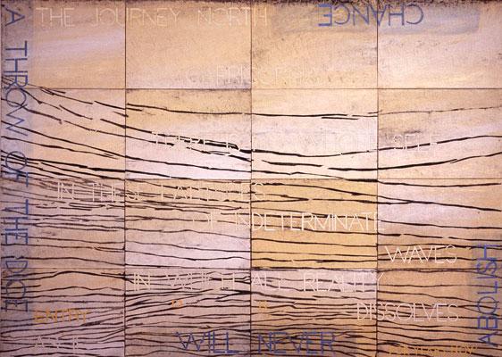 Imants Tillers, Nature Speaks DK (2011), acrylic, gouache on 16 canvas boards, 101 x 142 cm