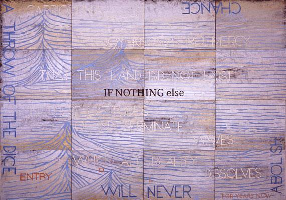 Imants Tillers, Nature Speaks DL (2011), acrylic, gouache on 16 canvas boards, 101 x 142 cm