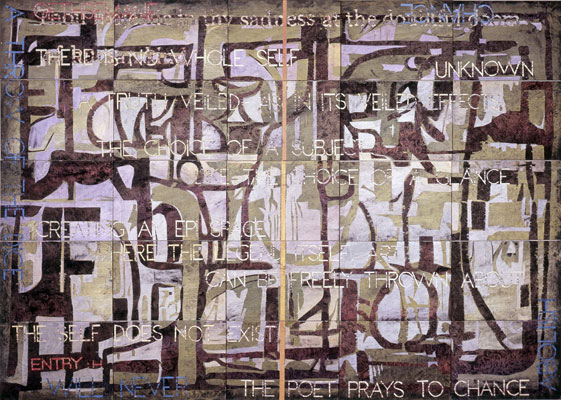 Imants Tillers, Thou Majestic H (2011), acrylic, gouache on 25 canvas boards, 127 x 177 cm