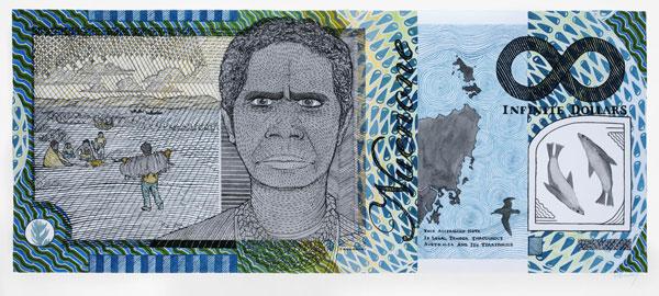 Ryan Presley, Prosperity – Infinity Note – Truganini Commemorative (2011), watercolour on paper, 75 x 100 cm