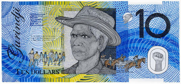 Ryan Presley, Prosperity – Ten Dollar Note – Vincent Lingiari Commemorative (2011), watercolour on paper, 75 x 100 cm