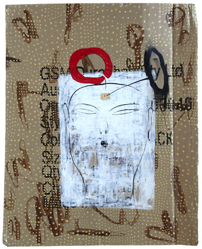 Dadang Christanto, I found your faces on the street (2007), acrylic on recycled cardboard, 46 x 38 cm