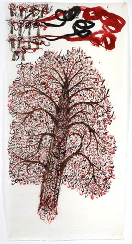 Dadang Christanto, The trees (Count project series) (2002), Chinese ink and coffee on rice paper, 185 x 93 cm