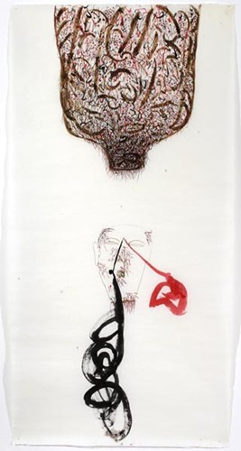 Dadang Christanto, Untitled (Count project series) (2002), Chinese ink and coffee on rice paper, 185 x 93cm