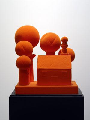 Michael Doolan, Monuments of times past (orange) (2011), ceramic, automotive nylon, wood 30h x 25w x 25d cm