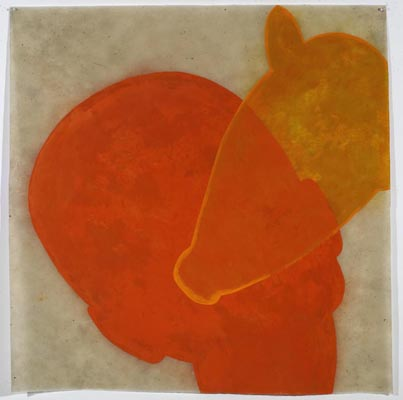 Judith Wright, Desire # 1 (2009), acrylic and wax on Japanese paper, 100 x 100cm