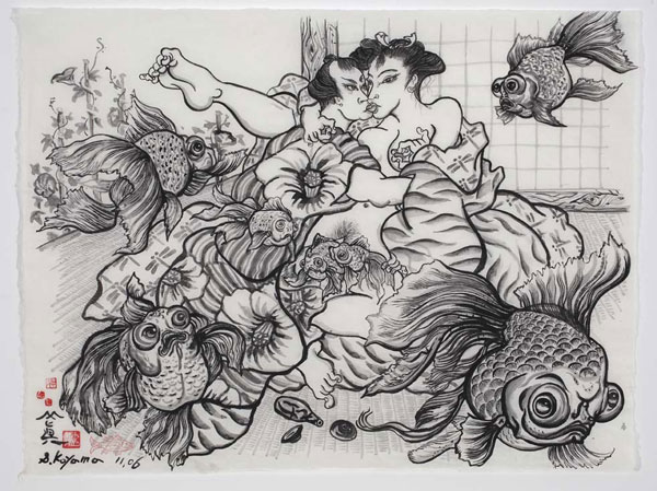 Shin Koyama, Midsummer Nights Dream, ink on Chinese paper, 90 x 108cm, $2,000