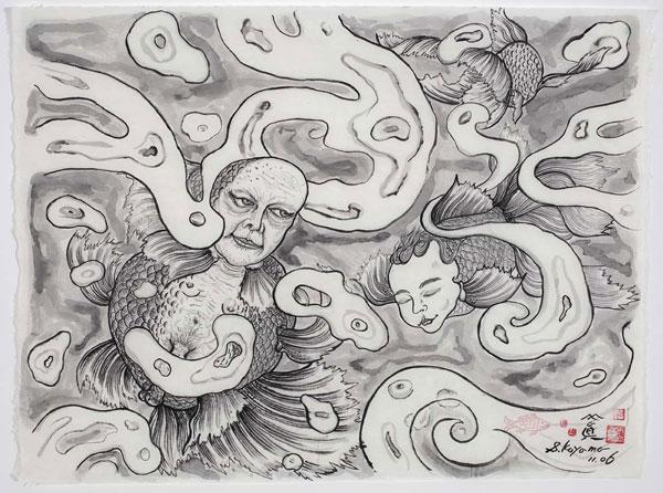 Shin Koyama, Midsummer Night Dream II, ink on Chinese paper, 90 x 108cm, $2,000