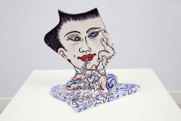 Shin Koyama, Boner I, acrylic on board, 32 x 30cm, $650