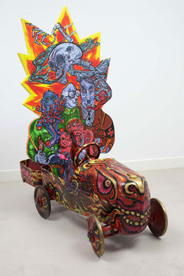 Shin Koyama, Mateship, acrylic on board and metal, 120 x 125 x 40cm, $6,500
