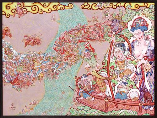 Shin Koyama, Vegetable War, oil on canvas, 95 x 125 cm, $7,500