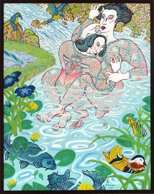 Shin Koyama, Kingfishers, oil on canvas, 110 x 87cm, $7,500