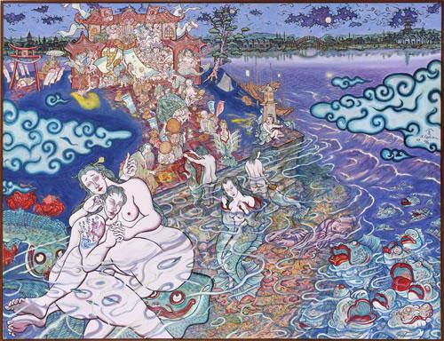 Shin Koyama, The Night of the Fish, oil on canvas, 140 x 185 cm, $15,000