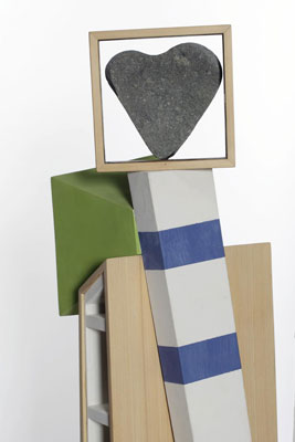 Stephen Hart, Odyssey (2010) (detail), polychromed constructed timber, steel and found stone, 175 x 60 x 40 cm
