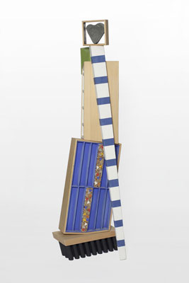 Stephen Hart, Odyssey (2010), polychromed constructed timber, steel and found stone, 175 x 60 x 40 cm