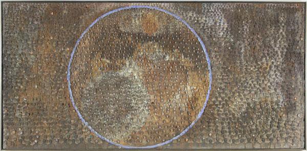Stephen Hart, Planet Mirth (2009), mixed media sculpture, 76 x 1.55 x 5 cm