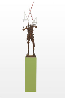 Stephen Hart, Now There Stands a City (2009), carved and polychromed timber, 40 x 30 x 128 cm