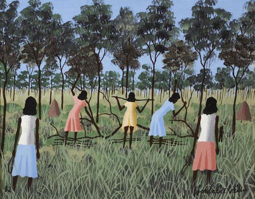 Dick Roughsey, Women Gathering Wood (1982), oil on masonite panel, 30 x 36cm, framed