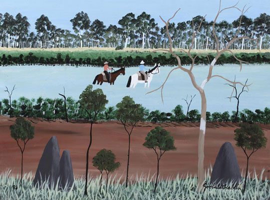 Dick Roughsey, Kennedy and Jacky Crossing the Escape River, oil on masonite panel, 45 x 60cm, framed