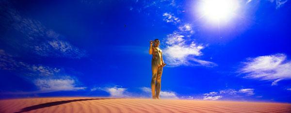 Ken Yonetani, Ultrabuddha – that is why I want to be saved #1 (2010), type C photograph, 35 x 90cm (image size)