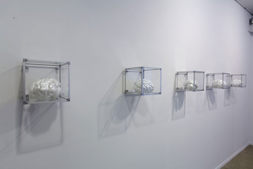Heri Dono, The Brains (2009), fibreglass, enamel 5 pieces, 17 x 14 x 13cm each, installation view