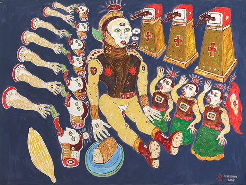 Heri Dono, A Great Dummy (2008), acrylic on Belgium linen, 150 x 200cm